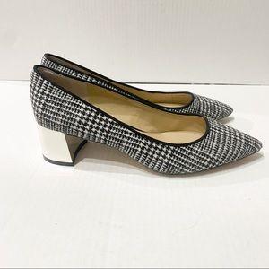 ANN TAYLOR Houndstooth Block heels pumps 8